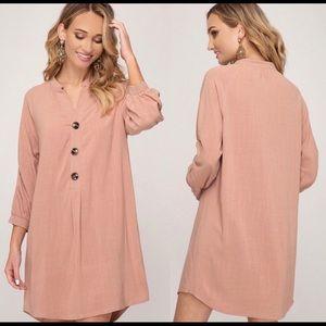 Dusty Pink Linen 3/4 Length Sleeve Dress